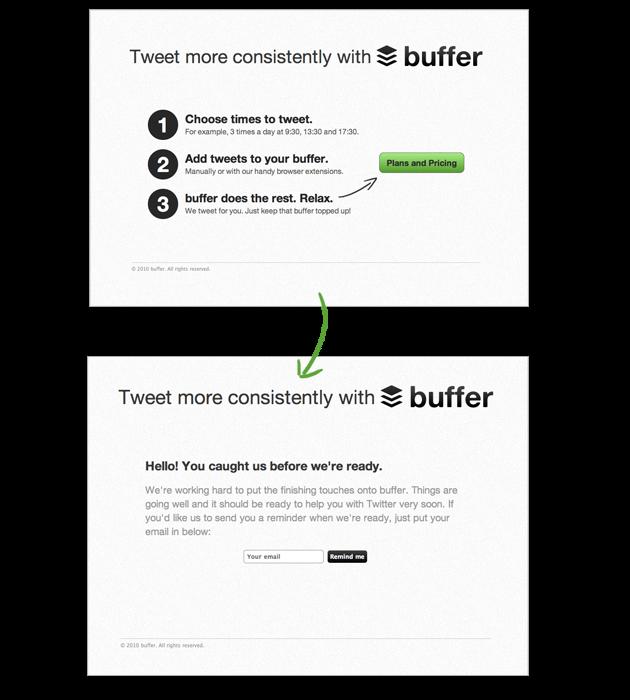 Ejemplo de producto mínimo viable: Buffer